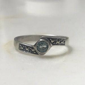 Sterling Silver Aquamarine Ring, size 9